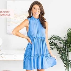 Dresses & Skirts - Mint Julep Blue Ruffle Babydoll Dress